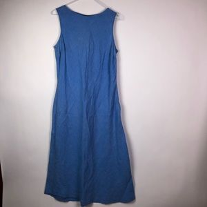 Lands End Blue Linen Maxi Dress Size 14